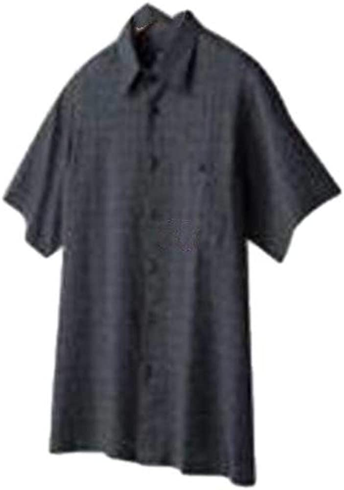 Haggar Men's Black Linen Blend Casual Button Front Short Sleeve Shirt-Size S