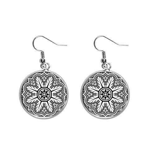 Pendientes colgantes de plata con diseño árabe y patrón de color negro y blanco para mujer