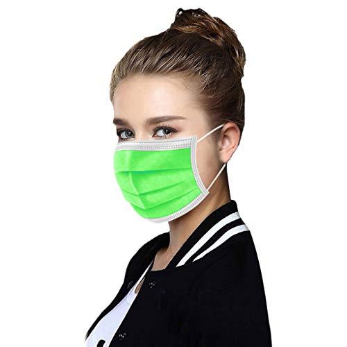 50 STK Einmal-Mundschutz Dreischichtige Einweg Mund und nasenschutz für Erwachsene und Jugendliche Atmungsaktive und komfortable elastische Ohrmuscheln Filter Gesichtsschutz (Grün)