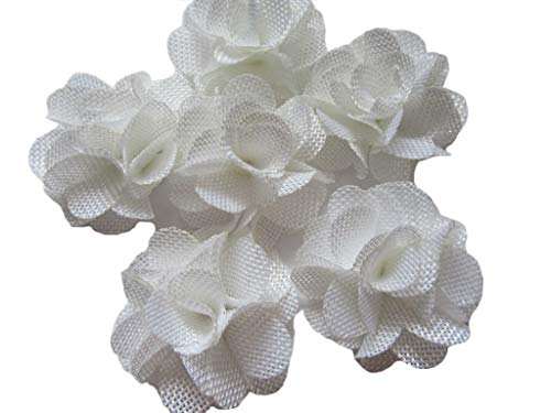 YYCRAFT 15pcs Burlap Flower Roses,3D Fabric Flowers for Headbands Hair Accessory DIY Crafts/Wedding Party Decorations/Scrapbooking Embellishments(2.25') (White, About 2.25')