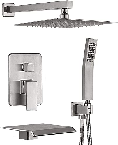 CHING Shower System Brushed Nickel Wall Mounted Shower...