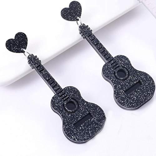 QIN Pendientes con Forma de Guitarra Brillantes Vintage Elegantes a la Moda para Mujer, Mini Instrumentos de corazón de melocotón, Pendientes Rosados con Purpurina en Polvo