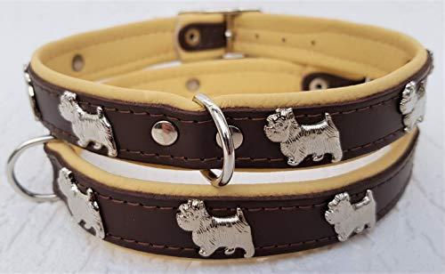 Lusy011 *Westie* Hunde Halsband, Leder, Halsumfang 28-32cm, 30-36cm, 35-41cm, BRAUN-Beige, (Halsumfang 30-36cm/40cm)