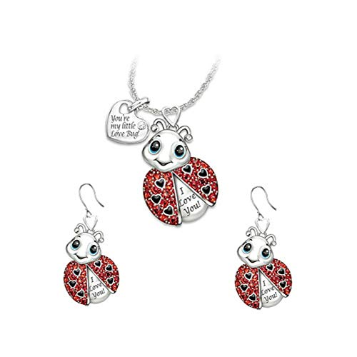 3pcs Lovely Red Ladybug Necklace Earrings Set For Women Cute Heart Tag Rhinestone Lettering Animal Pendant Necklaces