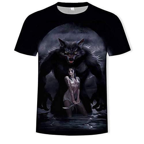 HHKLSF Herren 3D Druck Print Kurzarm Tshirt Mit Männer T-Shirts Oberteile Hemden Tops 3D Wolf Print T-Shirt, 3, M.