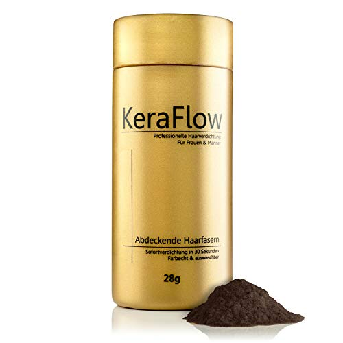 KeraFlow - Streuhaar für volle und dichte Haare, Schütthaar zur Haarverdichtung. Haarpulver gegen lichte Stellen – 28g (Dunkles Dunkelbraun)