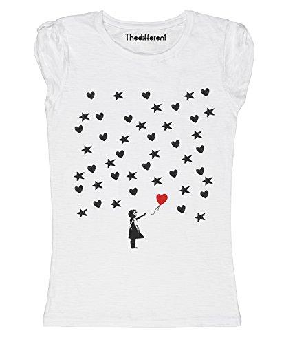 New T-Shirt Donna Fiammata Palloncino Stelle Cuori Idea Regalo