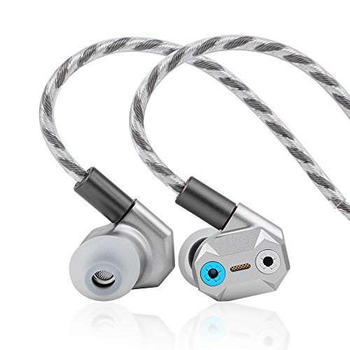 Linsoul Shuoer Tape Pro Composite Electrostatic Dynamic Driver HiFi In-Ear Earphone with Adjustable Bass, Detachable 2Pin Cable for Audiophile Musicians (Silver)