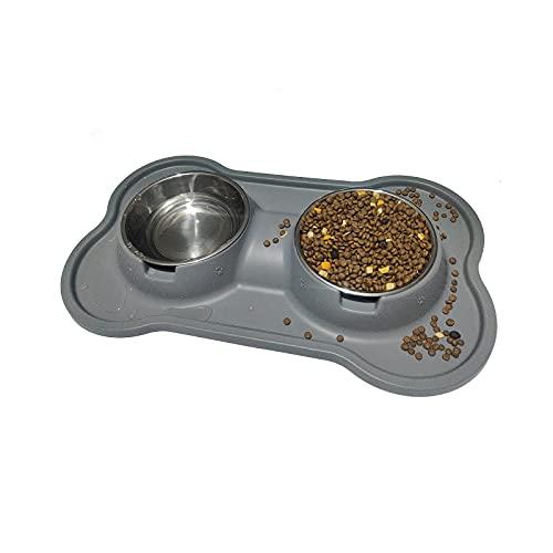 Ciotole per Cani e Gatti YOKA 2* 400 ML in Acciaio Inossidabile con tappetino Silicone Antiscivolo con scanalature, Ciotole Doppie per Cane Gatto taglia piccola e media (400ml/Ciotola)