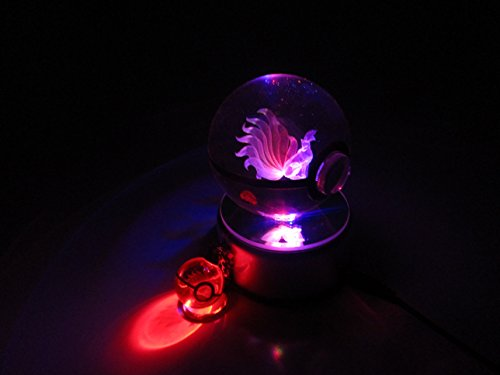 Beyond Pokemon Ninetales 3D Crystal Glass Pokeball LED Light Cosplay Replica Ball Prop & Free LED Pokemon Keychain Charm image