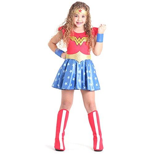 Fantasia Mulher Maravilha Luxo Infantil Sulamericana Fantasias Vermelho/Azul G 10/12 Anos