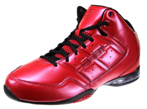 AND1 Men's Master Mid Varsity Red/Black Mid Top Athletic Basketball Sneakers