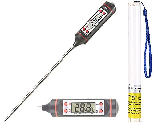 Thermometer Küche Grillthermometer Kochthermometer Fleischthermometer Bratenthermometer Digital Küchenthermometer 304Edelstahl 15cm langer Sonde,5s Sofortiges Auslesen für Küche Grill Steak-BBQ