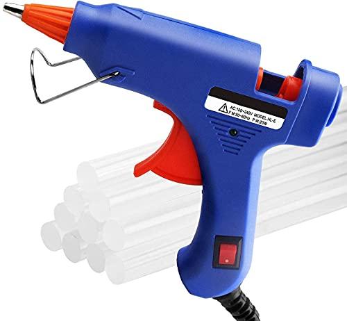 Pistola de pegamento termofusible + 50 barras de pegamento transparente, juego de pistola de pegamento transparente para manualidades pequeñas y reparaciones rápidas en casa y oficina (Blu)