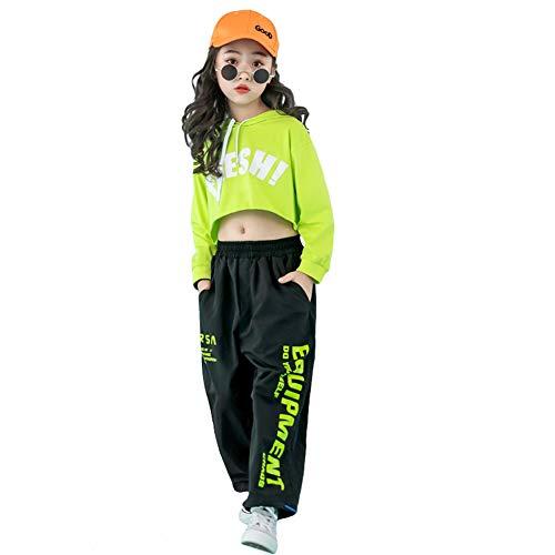 LOLANTA 2 Piezas de Ropa de Baile Callejero para niña Hip Hop, Sudadera Corta + Pantalones de chándal