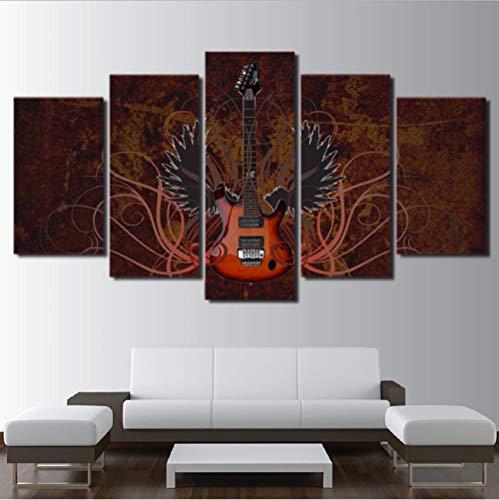 Lllyzz Canvas schilderijen Canvas Wall Art Pictures Framework Home Decoration Room Poster 5 Stuks Muzikaal Instrument Abstract Wings Gitaar Hd Gedrukte Verf Prints Op Canvas 150X80CM