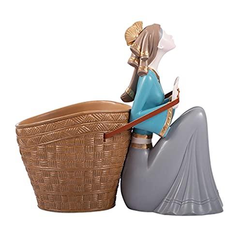 Chica Figurine Inicio Decoración Clave Sundries Contenedor Estatua Estatuilla Tazones Clave, Joyería Plato Resina Atrás Bambú Cesta Estatua Estatua Creativa Decoración De Decoración De Decoración (Vin