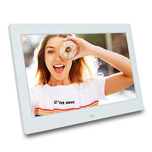 10 inch IPS 1080p USB Digital Photo/Picture Frame with Auto Slideshow Using USB Flash Drive & SD Card (not Included), Resolution 1280x800-16:9 Display;Matte White ; Gift for Parents Digital Frames Picture