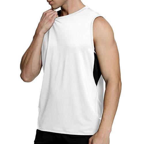 MEETYOO Męski bezrękawnik, topy bez rękawów, oddychająca kamizelka gimnastyczna, top podkoszulek do biegania fitnessu sportu