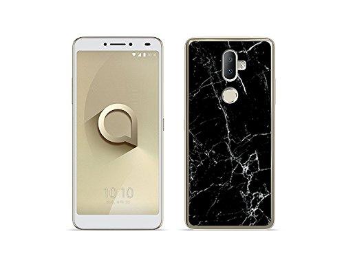 etuo Handyhülle für Alcatel 3V - Hülle Fantastic Case - Schwarze Marmor - Handyhülle Schutzhülle Etui Case Cover Tasche für Handy