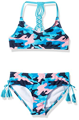 Kanu Surf Girls' Big Willow V-Neck Bikini Beach Sport 2-Piece Swimsuit, Erin Navy Camo, 12