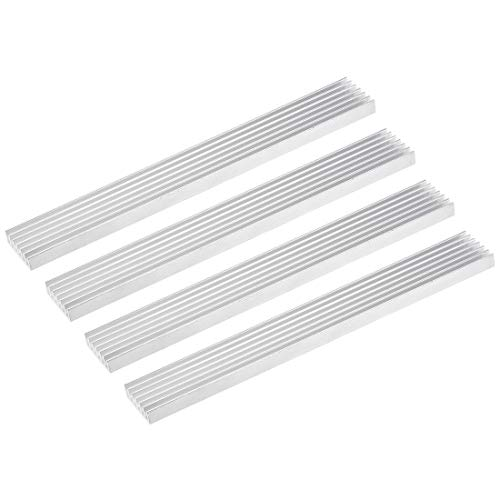 sourcing map 6x150x20mm Silver Tone Aluminum Heatsink Thermal Adhesive Pad Cooler for Cooling 3D Printers 4Pcs
