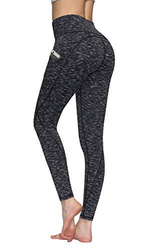 TUNGLUNG pantalones de yoga de cintura alta, pantalones de yoga con bolsillos para control de abdomen, pantalones de entrenamiento de 4 vías, leggings de bolsillo elástico - Gris - Large