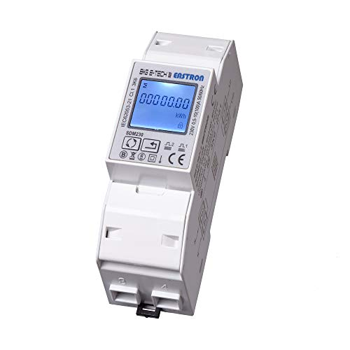B+G E-Tech SDM230Modbus - 1 Phasen Wechselstromzähler Stromzähler für DIN Hutschiene mit LCD Anzeige, S0 und RS485 Modbus Schnittstelle