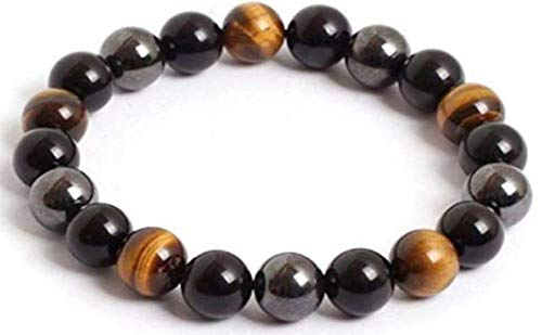 Black Hematite Tiger's Eye and Obsidian Triple Protection Bracelet (19, 8.0-8.4 mm)