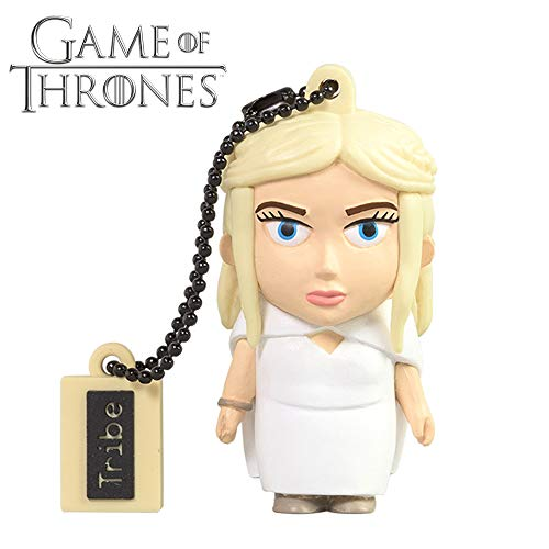 Tribe Game of Thrones (Juego de Tronos) Daenerys - Memoria USB 2.0 de 16 GB Pendrive Flash Drive de Goma con Llavero, Color Blanco