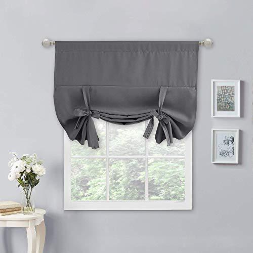 Nicetown - Cortina opaca romana para ventana de baño/puerta/cocina (gris, 1 panel, 101,6 cm de ancho por 137,1 cm de largo)