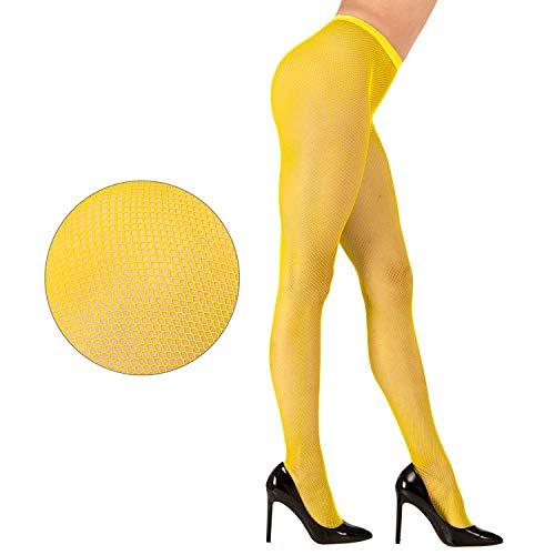 Widmann 47541 - Netzstrumpfhose Neongelb, Einheitsgröße für Damen, Kostüm, Verkleidung, Karneval, Mottoparty, Halloween