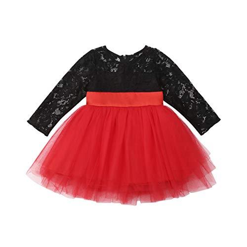 Frecoccialo Vestido Princesa Niña Bebé Canesú Encaje Negro y Tul Rojo con Lazo para Boda, Año Nuevo, Fiesta, Navidad. Un Buen Regalo del Día Tres Reyes Magos para Niña. (Rojo/Negro, 12-18m)