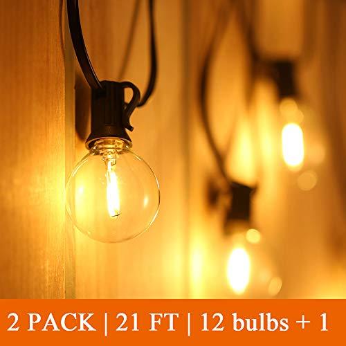 Led G40 Lichterkette Außen【2er Pack】, 6,5M Led Lichterkette Glühbirne, 12 Birnen + 1 Ersatzbirne, IP44 Wasserdicht für Innen- Außenraum Weihnachten Hochzeit【Led Version】