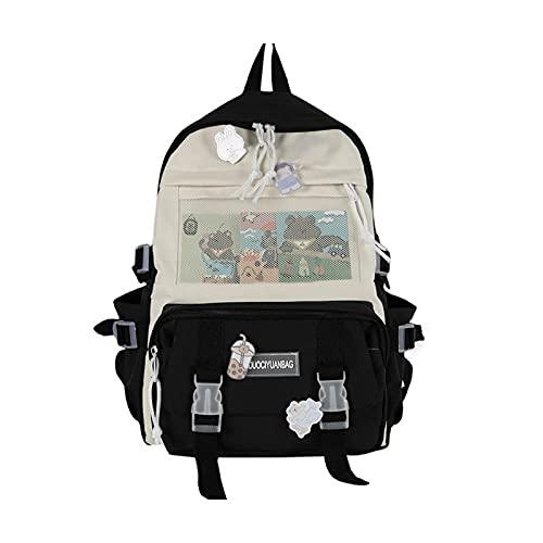 Preciosa historieta frontal de malla mochila de gran capacidad bolsas de hombro bolso multiusos adolescente portátil viaje escuela j60d, color Negro, talla Talla única