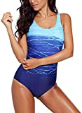 Aleumdr Badeanzug Damen Push up Bademode Schwimmanzug Bauchweg Farbverlauf Figurformenden Effekten Rückenfrei Bandeau Kreuz Rückseite Einteiler Swimsuit S-XXL, Blau, S