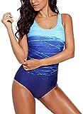 Aleumdr Badeanzug Damen Push up Bademode Schwimmanzug Bauchweg Farbverlauf Figurformenden Effekten Rückenfrei Bandeau S-XL, Blau, Medium (EU38-EU40)