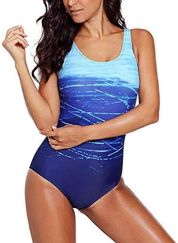 Aleumdr Badeanzug Damen Push up Bademode Schwimmanzug Bauchweg Farbverlauf Figurformenden Effekten Rückenfrei Bandeau S-XL, Blau, Large (EU38-EU40)