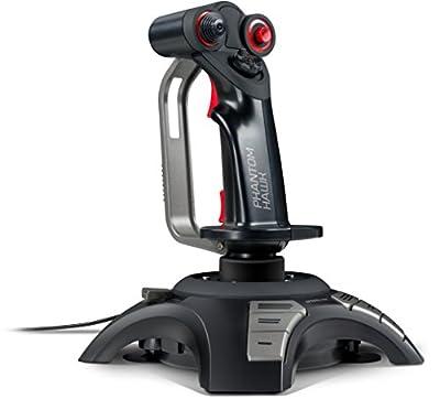 Speedlink Phantom Hawk Gaming Flight Stick for PC SL-6638-BK, Throttle Controller, 3 Control Dimensions, 8-Way Coolie Hat, Force Vibration, 12 Assignable Fire Buttons, Black