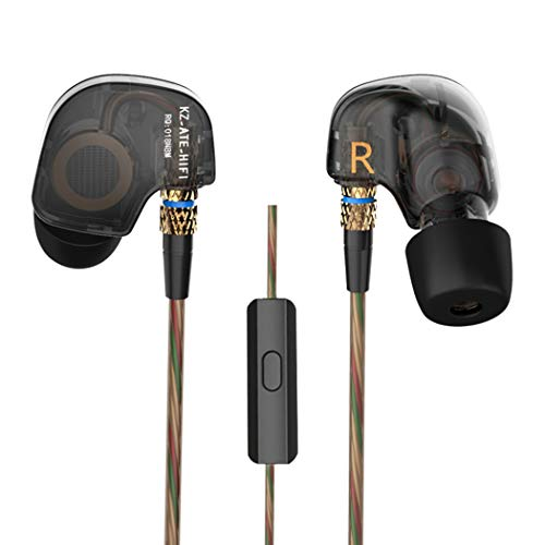 KZ ATE - Auriculares de 3,5 mm, de alta fidelidad, metálicos, con súper bajos, auriculares intraurales para teléfono inteligente (color negro) Black With MIC negro