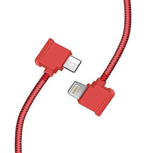 Hanatora 11.8 Inch USB C to iOS Remote Controller Cable Compatible with DJI Mavic Air 2 Drone,1FT OTG Tablet Phone Nylon Braided Extension RC Data Cord(iOS Connector Red)
