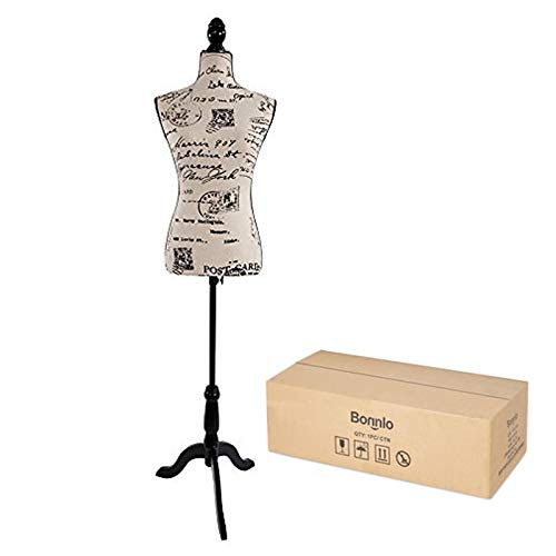 Bonnlo Female Dress Form Pinnable Mannequin Body Torso with Wooden Tripod Base Stand (Monogram Pattern, 6)