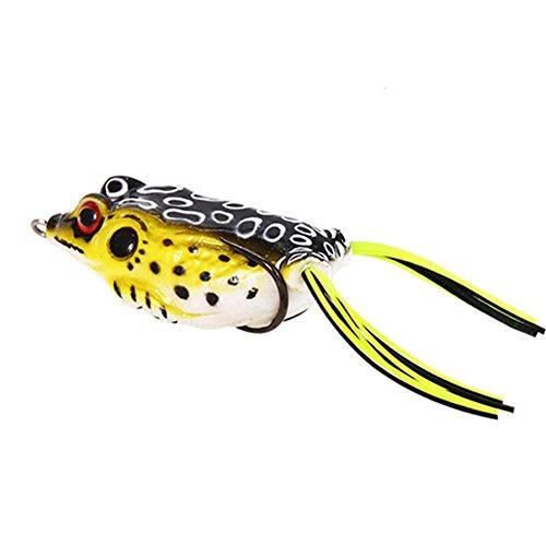 ACHICOO ルアー カエル クランクベイト タックル フィッシングルアー 淡水 塩水 軟らかい バイオニックベイト 1個 黒バックと黄のボディ
