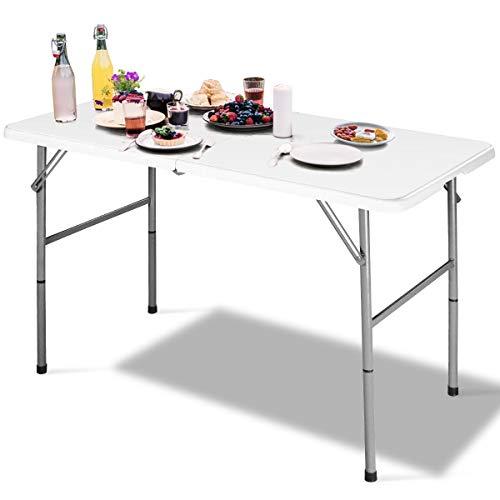 GOPLUS Klapptisch Campingtisch Gartentisch Falttisch Esstisch Beistelltisch Markttisch weiß (122 x 61 x 72 cm)