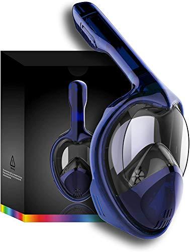 Tooklanet Mascarilla Completa del Snorkel de la Cara, del HD y 180 º fácil-a-respiran la máscara panorámica del Snorkel con Anti-Niebla y la Anti-Salida, Correas Principales Desmontables, Ajustables.