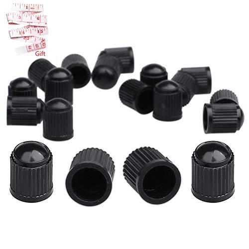 Akord 20 Stück Kunststoff-Reifenventilschäfte Staubkappen für Auto, Motorrad, LKW, Fahrrad, Fahrrad (schwarz), MO-40