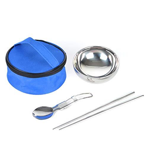 Ewendy Juego de vajilla de camping 3 en 1, portátil, cubertería, cuchara, palillos de acero inoxidable, para fiestas, picnic, camping (azul)