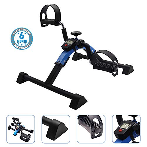 Voroly Portable Ab Exercise Bike Cycle Peddle Exerciser Gym Fitness Exerciser with Adjustable Resistance LCD Display for Leg Arm Cardio Folding Exercise Bike