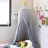 Naturer Grau Betthimmel Babybett Baldachin Groß Schlafzimmer Moskitonetz Kinderbett Babybett Himmel Fliegennetz Mückenschutz für Spielzimmer Dekoration