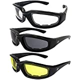3 PAIR BIRDZ PADDED MOTORCYCLE RIDING GLASSES SMOKED CLEAR YELLOW Shatterproof Polycarbonate Lens Maximum UV Protection Scratch Resistant Coating Rubber Ear Pads